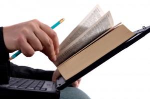 Businessman reading an e-book
